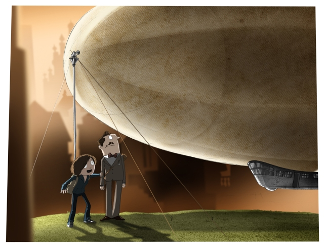 admiring the airship