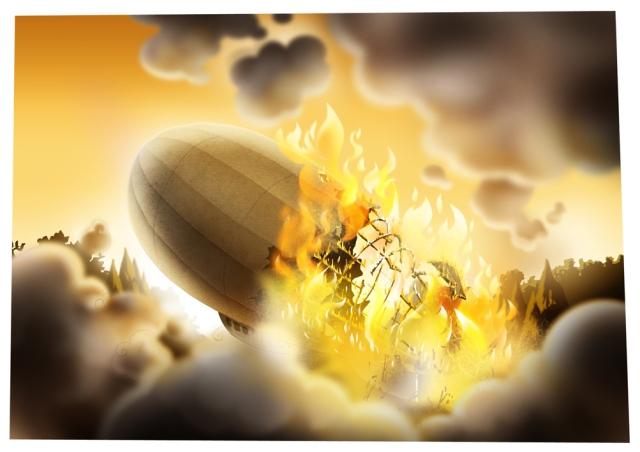 Zeppelin on fire